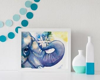 ART PRINT- Sizes: 5x7 / 8x10 / 11x14 - Elephant, Lotus