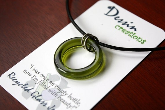 WINE Bottle Pendant, Recycled Fused Glass Necklace, CYPRESS GREEN, Upcycled, Eco Friendly Gift, Dessin Creations