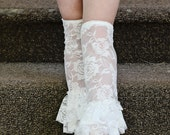 Lace Ruffle Leggings- Ruffle Lace Leg Warmers- White lace leg warmer- cream leg warmer - toddler lace leg warmer - 20 colors to choose from