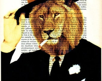 Prints posters Acrylic paintings Illustration Original Drawing Giclee Mixed Media Art digital typography:  Smart Dressed Lion
