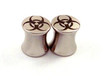 "Bio Hazard Stainless Steel Plugs - Double Flared - 2g 0g 00g 7/16"" (11 mm) 1/2"" (13mm) 9/16"" (14mm) 5/8"" (16mm) Symbol Metal Gauges"