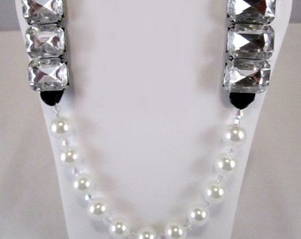 Hollywood Bling White Glass Pearls, Crystals & Black Velvet Necklace