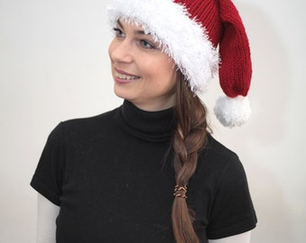 Winter Hat, Knit Hat, Wool Knit Hat, Santa's Hat by Solandia, Christmas New Year gift, children, teen, women children costume