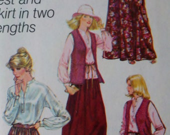 Vintage 70's  Womens Sewing Pattern Top Vest Shawl and Skirt Simplicity 8756 Bust 34""