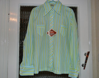 SALE Mod skinhead candy stripe vintage 1960s long-sleeved shirt polycotton blue green white striped unisex German