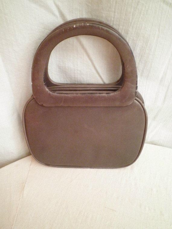 1950s Vintage Leather Sculptural Kelly Bag Handbag in Grey