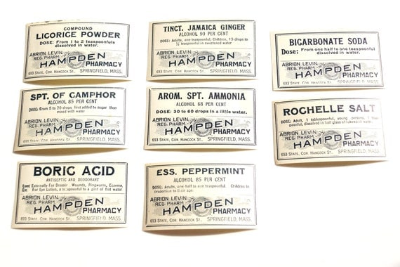 Antique Medicine Apothecary Pharmacy Labels (No.8) from 1890s (Set of 8 labels) - Paper Crafts, Altered Art, Halloween Decor and more
