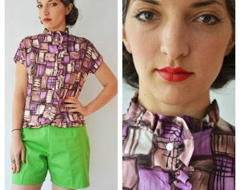 Abstract Atomic Print Frilly 1950s Blouse in browns and purples