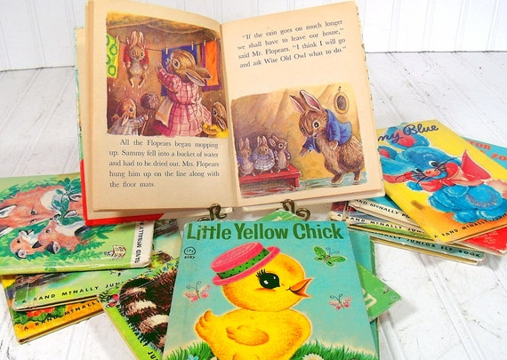 Set of 7 Childrens Books - Vintage Whitman Tell-A-Tale Stories - Shabby Chic Nursery Decor