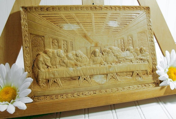 Last Supper Chalkware Plaque Vintage Plaster Wall Hanging