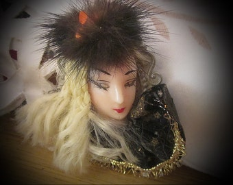 80's Handcrafted Blonde Beauty-Queen Brooch, Vintage