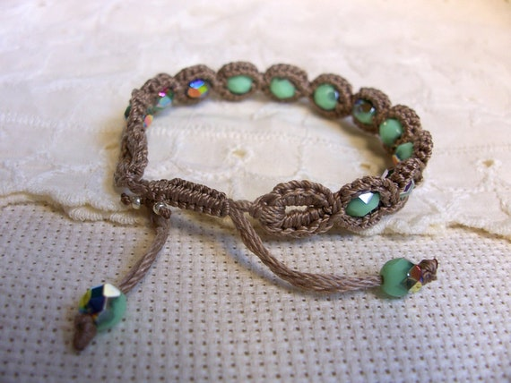 Crochet Jewelry, Bohemian Bracelet, Turquoise and earthy brown shades