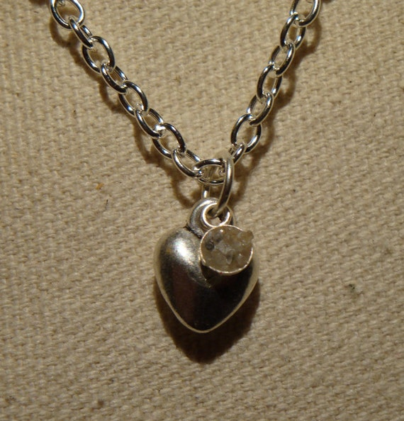 Rough diamond and silver heart necklace. free shipping.