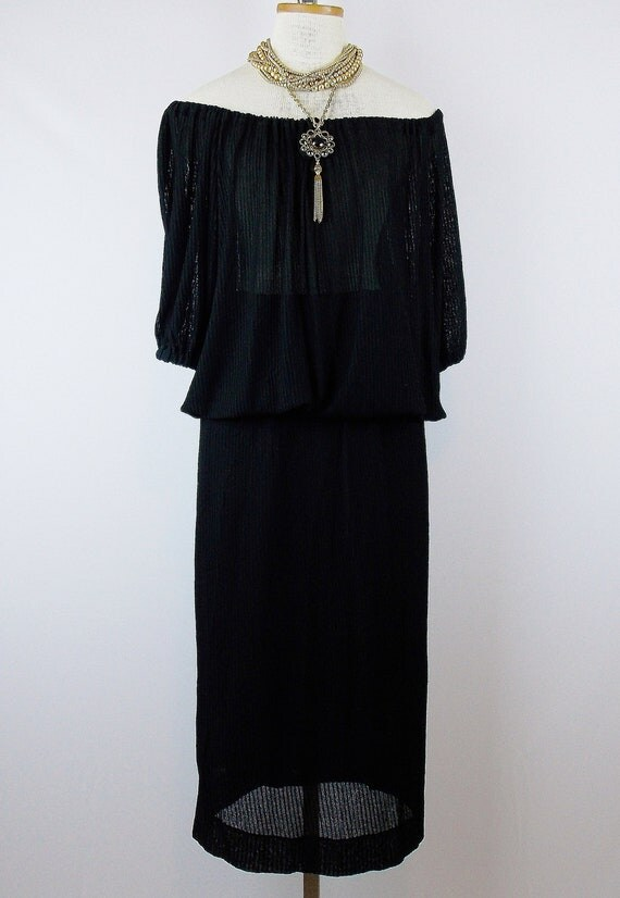 Vintage YVES SAINT LAURENT Peasant Black Draped Blouse and Long Skirt  70s Boho Chic Small