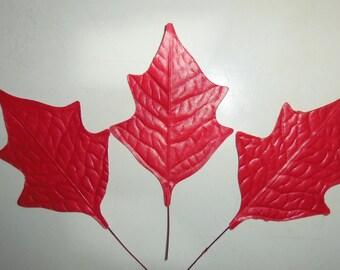 Vintage Christmas Millinery Flower Matte Red Paper Leaves DIY Wreath Garland Paper Crafts E
