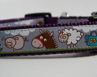 Farm Animals Dog Collar- Purple