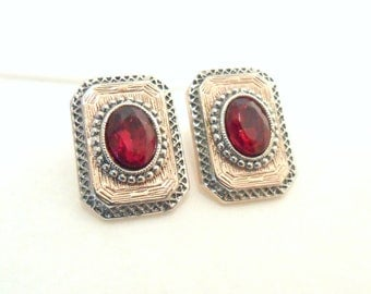 1928 Art Deco Style Earrings with Red Glass, Rose Gold Plate