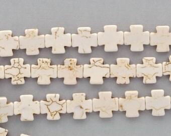 1 strand Howlite Stone Beads WHITE MALTESE CROSS 15mm how0161