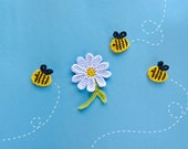 Instant Download - PDF Crochet Pattern - Bee and Flower Applique - Text instructions and SYMBOL CHART instructions