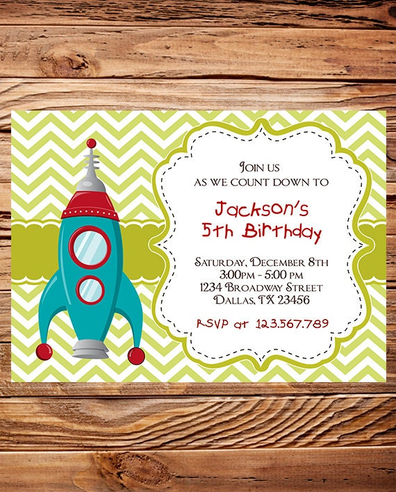 Rocket Birthday Party Invitation BOY GIRL Space Chevron – Rocket Ship Birthday Invitations