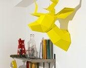 Yellow Foldeer - Deer Head Papertoy