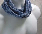 Denim Blue Hair Wrap Headband Gaiter Circle Scarf Jersey Knit Handmade Fashion for Guys and Gals