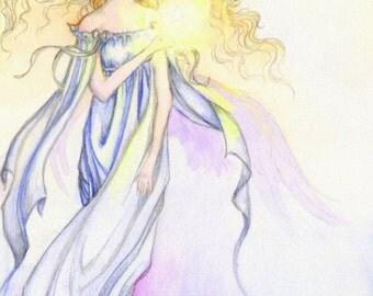 "Angel Art 5x7 Print ""My Little Star"" Fantasy Art"