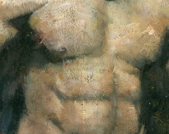 The Boxer, Male Figure Painting, Signed Giclee Print