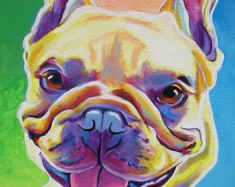 French Bulldog, Pet Portrait, DawgArt, Dog Art, Frenchie Art, Pet Portrait Artist, Colorful Pet Portrait, Art, Art Prints, French Bulldog