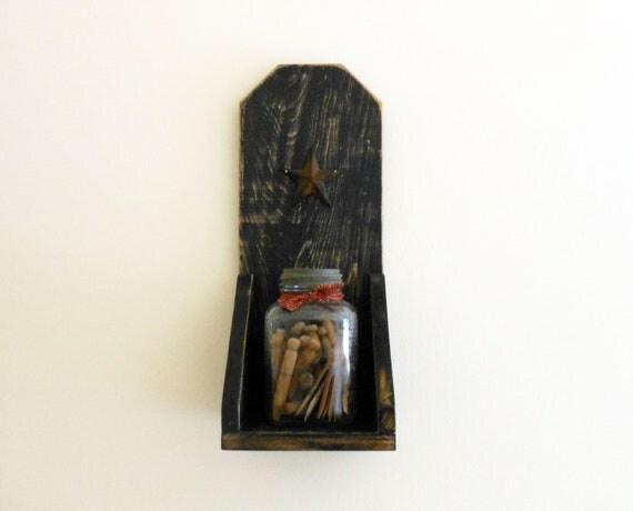 Distressed Black Shelf/ Large Sconce with Rustic Star (Primitive display shelf)