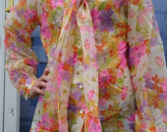 Sheer Blooms Floral Blouse