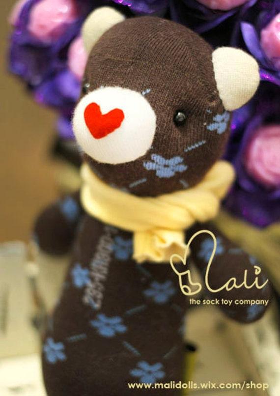 "On Sale - Mali Sock Doll, Sock Bear, Brown Blue Floral Prints Teddy Red Heart Nose, ""Sweet Heart Floret"""