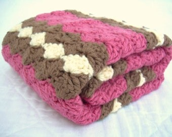 Crochet Baby Blanket, Baby Blanket, Crochet Pink Baby Blanket, Pink, Brown, and Cream waves, travel size