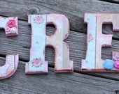 Wooden Alphabet Letters Create  Shabby Chic Wooden Wall Decor  Baby Girl Nursery Decor Pink Aqua Chippy Paint Roses French