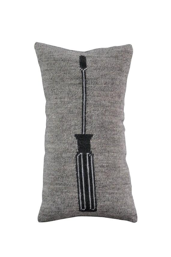 Handmade art&craft needlepoint Screwdriver Pillow decor design