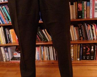 "Men's 1950s Pants in Dark Chocolate Brown Check--W: 32"""