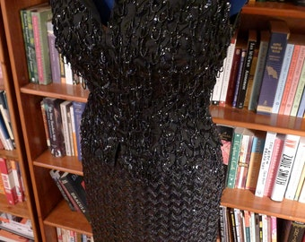 COUTURE BEADING-- Beautiful 1950s Heavily Beaded Sleeveless Shell in Black--S, M Bust 36
