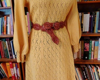 Wild about SAFFRON--Killer Knitted or Crocheted 1960s Dress in Sunshine Yellow--M, L