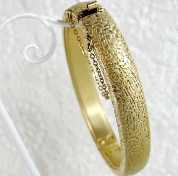 Vintage Bangle Bracelet, Gold Hinged Clamper, Floral Flowers Leaves, 1950s Mad Men, Nature Woodland Garden Costume Jewelry