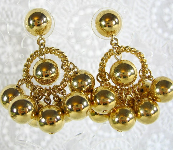 Vintage Statement Earrings, Gold Balls Beads, Circles Hoops, Pierced Dangles, Designer TRIFARI, 1980s MOD Jewelry