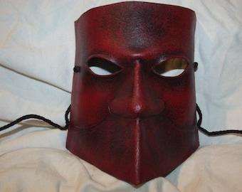 Commedia Dell'Arte Bauta, Bautta, Venetian Carnivale Mask in Leather