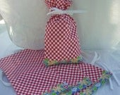 "Four FABRIC GIFT BAGS, Gift Wrap, All Occassion, Set of Four, Reusable Fabric Gift Bags, Red & White Check 6"" by 11"""