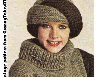 1970s/80s Vintage Knitting Pattern-TURBAN STYLE HAT & Boyfriend Fit Sweater, Chunky/Bulky, Instant Download Pdf from GrannyTakesATrip  0170