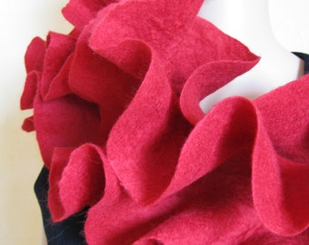 Handmade wool felted long scarf Ruffle Style Red Rose
