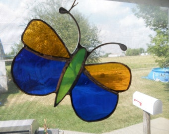 Stained Glass Butterfly Suncatcher Ornament Blue and Gold