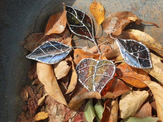 Stained Glass Autumn Leaves set of 4