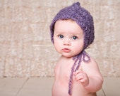 Baby hat - lacy mohair bonnet with dainty scalloped edging--- vintage style - sweet and unique for photos