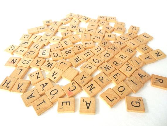 Vintage Scrabble Letter Tiles wood game pieces