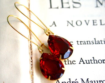 Customizable - Large Pear Siam Ruby Unfoiled Crystals, Brass, Silver, Antiqued Brass, Stocking Stuffer, Make Your Own Jewelry