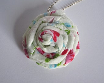 Fabric Floral Rosette-Rose-Rolled Flower Necklace
